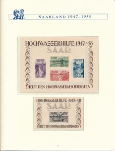 Saarland - 1947-1959 - complete collection with block 1 & 2, OPD Saarbrücken and official stamps in Borek album (1)
