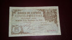 Spain - 5 pesetas 1936 - Pick 97a - extremely rare