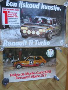 Rallye de Monte-Carlo - Renault 5 Alpine Gr. 2 and Renault 11 Turbo showroom posters
