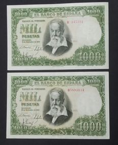 Spain - 2 x 1,000 Pesetas from 1951 Joaquín Sorolla - Pick 143