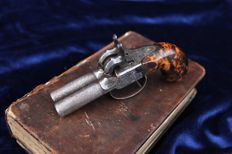 Double barrel ELG travel percussion cap pistol in book