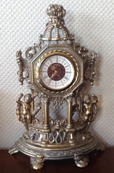 Gold plated copper grandfather clock with two putti angels - approx. 1970 - West Germany