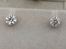 1.87 ct E / SI1  Round Diamond Stud Earrings 14 kt White Gold