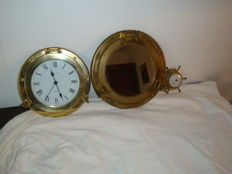 """Beautiful set of wall clock and """"porthole"""" mirror in solid brass + small barometer"""