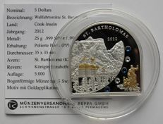 Cook Islands - 5 Dollars 2012 'St. Bartholomae', partially gold plated with Swarovski stones - silver