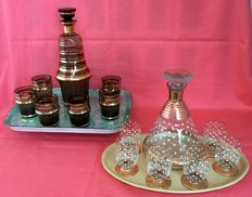 2 Art Deco liqueur sets with glasses and serving tray