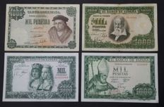 Spain - 4 x 1,000 Pesetas - 1946,1951,1957 and 1965 - Pick 133,143,149 and 151