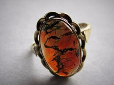 Rare gold ring (4.2 grams) with large moss agate (approx. 21.41 ct) Size: 17.6 No Reserve Price