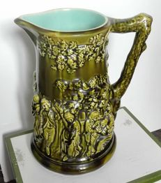 Antique Sarreguemines Majolica Relief Wine Jug