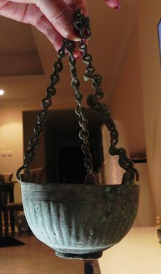 Ancient Byzantine Bronze Incense Burner with Chains. 600 - 700 A.D