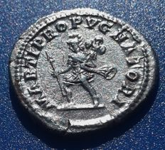 Roman Imperial - Caracalla, Denarius circa 212-213 AD, Mars advancing left carrying trophy and spear.