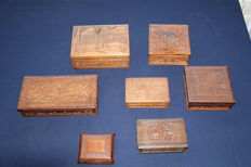 Collection of 7 finely carved mahogany cases
