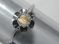 Engagement ring in 14 KT – 585 gold around 1930 antique gold ring brilliant cut diamond 0.62 ct