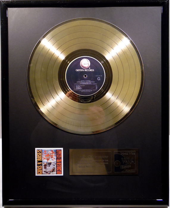 "Guns 'N Roses - Appetite for Destruction  -  12"" Geffen record gold plated record by WWA Awards"