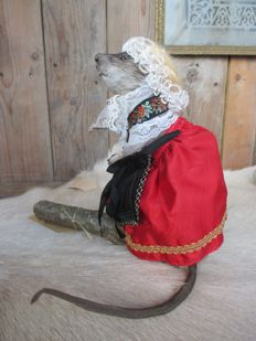 "Curious taxidermy - ""Old Lady Rat"", dressed in traditional folk-style - Rattus norvegicus - 21.5 cm"