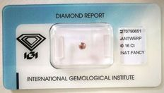 Natural fancy diamond, 0.16 ct, pink-brown, I1, brilliant, IGI, no reserve