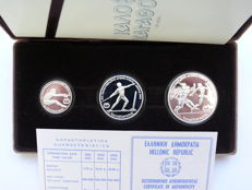 Greece - 100, 250, 500 drachmas  1981 'Track and Field European Championship in Athens 1982', silver