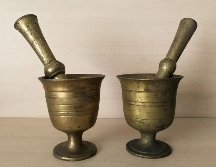 Heavy solid antique mortars with original pestles - 19th century