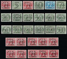 Netherlands 1940 - Number type 'Guilloche' including strips - NVPH 356/373 + 356a/d