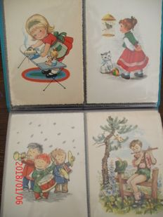 Lot consisting of 2 x an album with a total of 150 drawn children's cards, Netherlands-Belgium. period: 1930s - 1980s