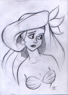 Mateu, Xavier Vives - Original preliminary sketch - The Little Mermaid - Ariel doubt (1990s)