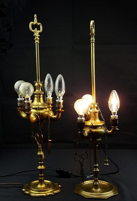Two original brass oil lamps with accessories, three and four lights later converted to electric lamps - 19th century - Venice, Italy