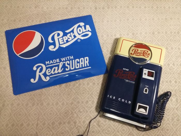 Great set Pepsi made by: Pepsi Cola Vintage Wall Phone and Tin Metal Advertising Signs: Pepsi Cola Made With Real Sugar 2016s