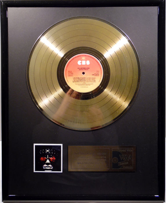 "Judas Priest - Killing Machine  -  12"" CBS record gold plated record by WWA Awards"