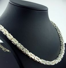 925 Italian Sterling Silver Square Byzantine King's Chain,60cm