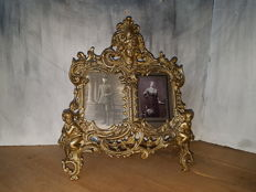 Rare double bronze picture frame with angels (35 cm, 1.3 kg) - France - 1st half 20th century