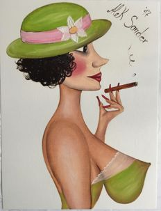 Original; Alek Sander - Madame Cohiba with green flower hat - 2017