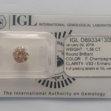1.56ct   Round  diamonds cut Fancy Campagne vs2 IGL Lab report -NO RESERVE