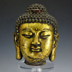 Gilt iron Buddha Head - China - late 20th century