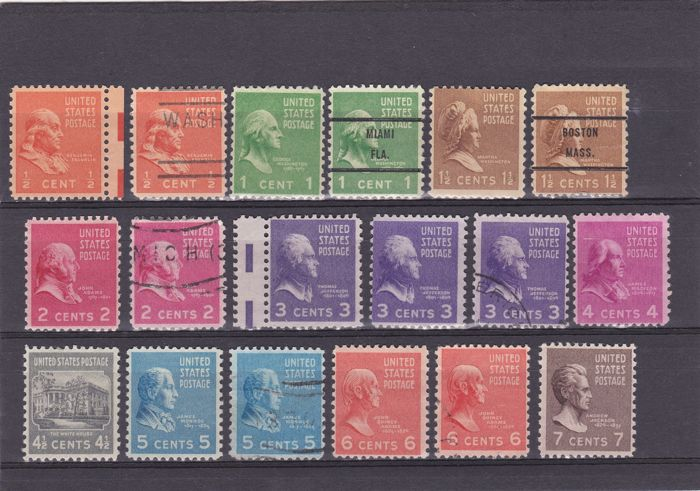 United States 1935/1940 - a selection between Scott 775 and 893 with C2 and C3 Air Post stamps