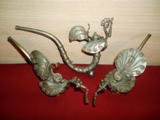Three metal opium pipes decorated with bird - 2nd half 20th century - Thailand