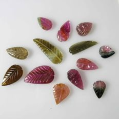 Fine Multicolor Tourmaline carving leaf - 0.83 - 1.89 cm - 21.70 ct