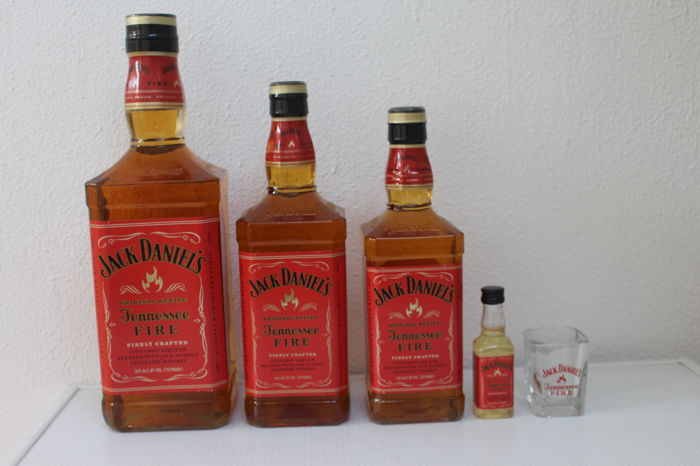 4 bottles - Jack Daniel's Whiskey Tennessee Fire - Red Hot Cinnamon - With Shot Glass.