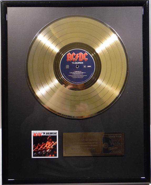 "AC/DC - '74 Jailbreak  -  12"" Columbia record gold plated record by WWA Awards"