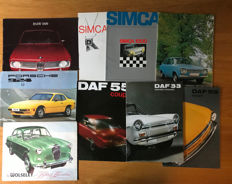 (9) Porsche,BMW,Ford, Simca,Daf,Riley  Sales Brochures 1960s & 70s
