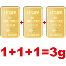 1+1+1g, 3 pieces of 1g sealed 24 Ct Fine Gold Bars, ***Low Reserve Price ***