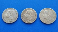 Spain - Lot of 3 coins of 2 pesetas Alfonso XII 1879*18*79 EM M - 1882*18** MS M - 1884 MS M Madrid