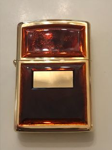 Zippo lighter, gold plated with red-orange onyx