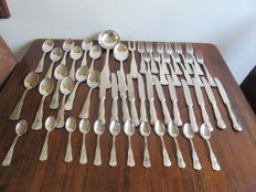 Silver plated 12 people cutlery 51 pieces marked with stamp and Crown