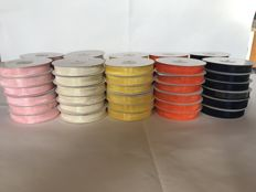 Lot of 60 organza ribbon spools - Made in Italy - various colours