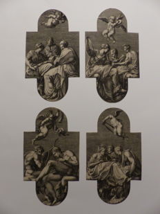 Complete set of 4 large engravings, Muzes, Georgio Ghisi (1520-1582), After Francesco Primaticcio, 1541 - 1582
