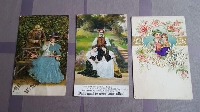 Lot consisting of varied postcards beautiful women-romance-military-flowers - art  etc. Including some signed cards. 151X