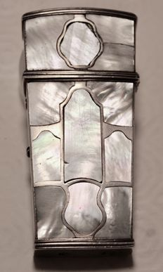 Silver and mother of pearl necessaire case, 18th century