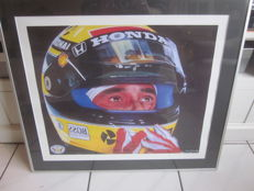 Arton Senna 1 lithograph in frame with certificate Holland racing for kids in Brazil 1985