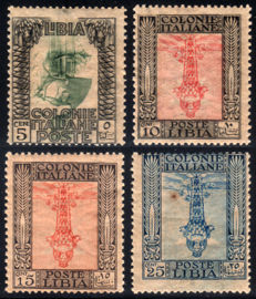 Libya, 1921 – Pictorial, overturned centre, 4 values – Sass. No.  23/26c.