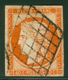 France 1850 - Ceres 40 cent cancelled by the grid - Yvert 5